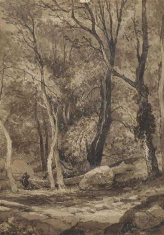 a glade in a wooded landscape by narcisse virgile diaz de la peña