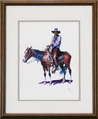 cowboy on horseback by buck mccain