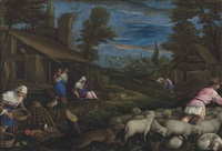 a shepherd with his flock and a woman feeding poultry in a village, with other figures resting by a cottage by francesco bassano the younger