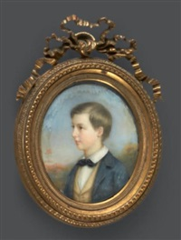 portrait d'un jeune garçon blond, en veste bleue et gilet jaune sur fond de paysage by francois meuret