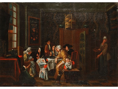 an interior scene of a family around a table by jan josef horemans the younger