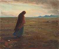 indian walking in a landscape by kathryn woodman leighton