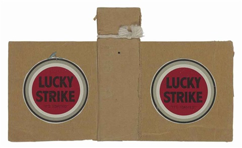 untitled two lucky strikes and tied string by ray johnson