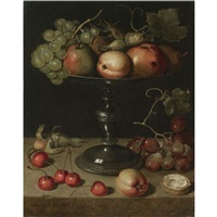 still life with pears, an apple, an apricot, almonds and walnuts on a tazza with grapes, a walnut, an apricot, cherries and almonds on a stone ledge by clara peeters