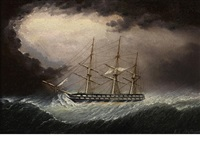 a british warship in heavy weather by james edward buttersworth