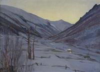 aurora invernale a forno alpi graie by giuseppe sobrile