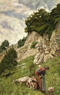 paisaje con anciana y niño by augusto junquera