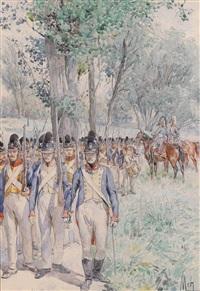 regiment, marschierend by felicien de myrbach-rheinfeld