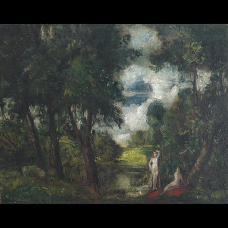 bathers by woodland pools by lipót herman