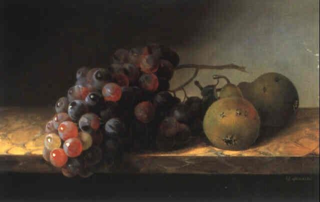 stilleben mit weintrauben und birnen by christine marie loevmand