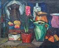 Stillleben mit Krügen und Pflanze, 1913
