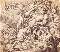 an allegory of the river rhine surrounded by putti, a siren holding a coat-of-arms by johann jacob von sandrart