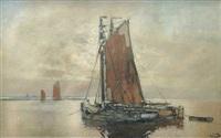 fischerboote auf der niederelbe im taghellen vollmondschein by karl leipold