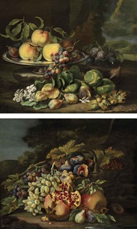 peaches, plums, and grapes on a silver dish, with figs, flowers and chestnuts, all on a natural ground against a landscape (+ a basket of figs and grapes with pomegranates and plums, all on a natural ground; pair) by maximilian pfeiler