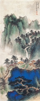 山水 立轴 绢本 by xie zhiliu
