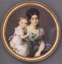 a mother and child: the mother in green silk dress with white sash and fichu scarf, gold hoop earrings, her hair plaited and upswept, her child in white dress with pink sash by friedrich august jung