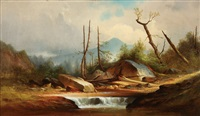 expansive pennsylvania landscape with stream by george frederick bensell