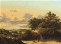 a flock of sheep on a country path by cornelis hendrik van amerom