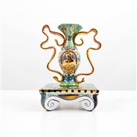 finely detailed handled vase and stand by phillip maberry