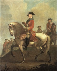 equestrian portrait of george iii with the duke of cumberland and troops by david morier
