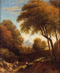 paisaje con personajes by vicente camaron y torra