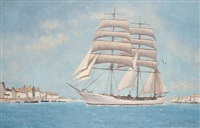 clipper leaving harbor (+ another; 2 works) by hugh boycott-brown
