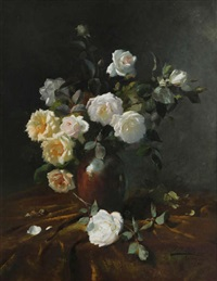 nature morte avec vase de roses blanches by frans mortelmans