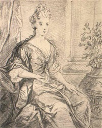 portrait of lady, three-quarter length, seated by gilles allou