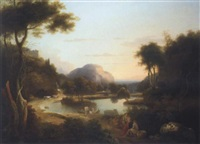 classical figures in an extensive italianate landscape, (lake arno?) by samuel james ainsley