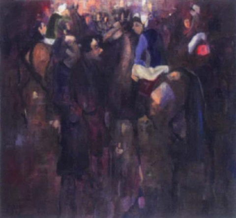 jockeys in a crowd by george dunne