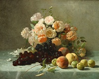 stilleven met rozen en fruit by frans mortelmans