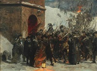 historical scene with numerous soldiers at the citadel copenhagen by otto bache