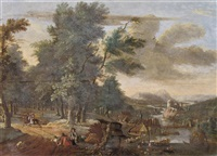a river landscape with huntsmen in the woods and a village with boats loading by jacob van der does the elder