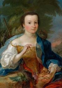 bildnis einer dame mit diamantenhalsband- und ohrringen, an einer silbernen kette ein auf ihrer schulter sitzendes eichhörnchen, mit der rechten hand ein hündchen haltend by cornelis troost