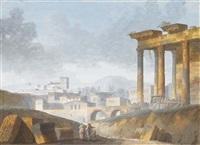 paysage avec des ruines et des figures au premier plan, un temple sur la droite et un village à l'arrière-plan by jacques michel denis lafontaine