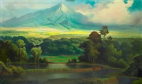 javaans sawah landschap met de merapi in de verte (javanese ricefield landscape with merapi in the distance) by dullah