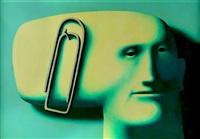 face with paperclip by oleg tselkov