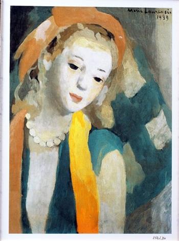 femme au foulard by marie laurencin