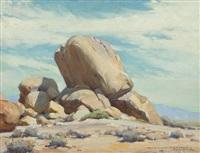 desert landscape with boulders by clyde forsythe