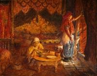 famille dans un intérieur à tunis by joseph saint-germier