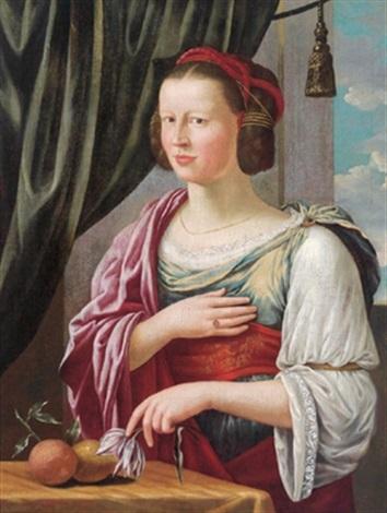 bildnis einer adeligen dame als pomona auf welche die symbole der römischen göttin der früchte verweisen by german school augsburg 16
