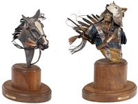 eye of the storm: indian bust & horse head (set of two) by dave mcgary