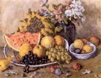 nature morte a la pasteque et raisin by nikolai maksimovich melnikov