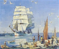ships in port by alfred crocker leighton