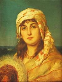 portraitbildnis einer jungen dame in orientalistischer bekleidung by alfred stevens