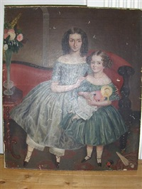a double portrait of rosina bradford tidcombe age 11 and laura joyce tidcombe aged 4 years and 8 months (+ portrait of a woman; 2 works) by j. c. miles