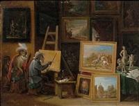 le singe peintre et le singe sculpteur (pair) by david teniers the younger