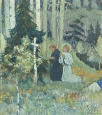 the founding of trinity sergius monastery by mikhail vasilievich nesterov