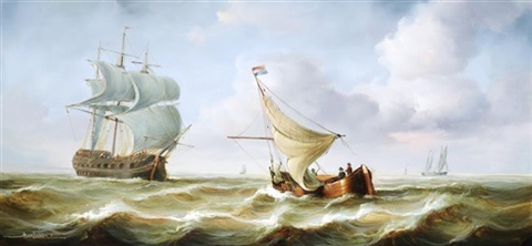 a dutch fishing boat in rough seas 2 similar 3 works by jean laurent