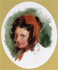 head study of a woman, possibly lady louisa russell (1812-1905) by sir edwin henry landseer